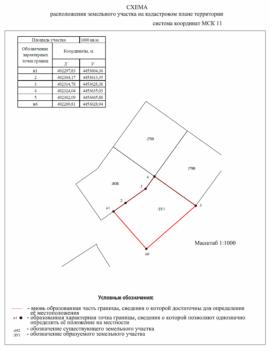 Схема расположения земельного участка на кадастровом плане